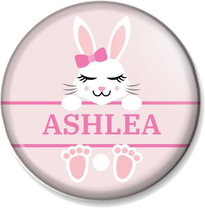 "Personalised Easter Bunny Rabbit - Pink 58mm (2.28"") Pin Button Badge - Customise with any name"
